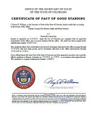 Image of the Citizens Council For Robotic Safety and Public Security, certificate of good standing