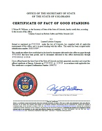 Image of the Citizens Council on Robotic Safety and Public Security LLC,certificate of good standing